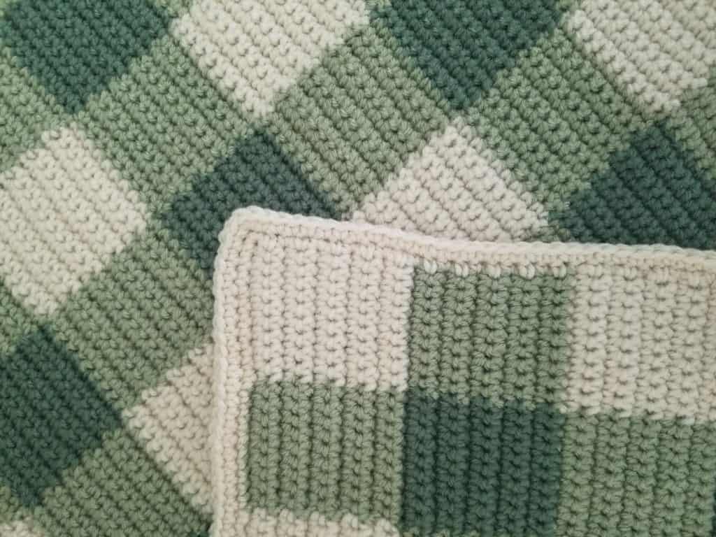 Gender Neutral Crochet Baby Blanket In Gingham Sage Baby Blanket