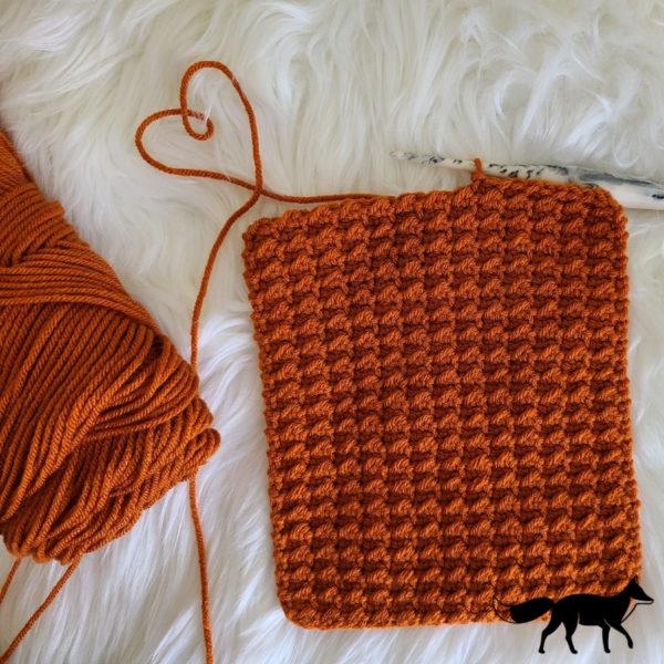 Even moss stitch crochet swatch