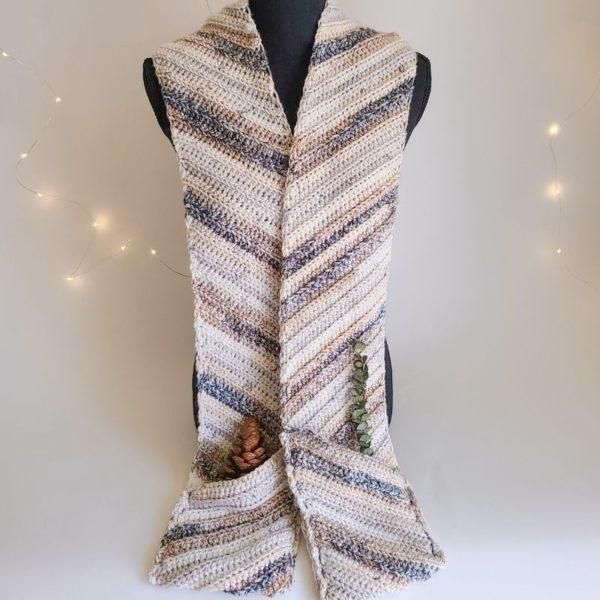 Pocket Scarf Crochet Pattern Sample, shown on mannequin