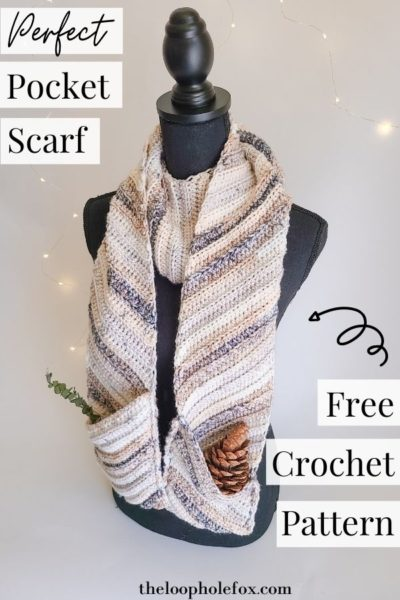 Image dictating a crochet pocket scarf pinterest pin.