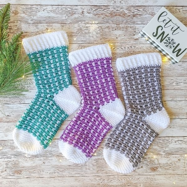 Crochet Christmas Stocking in teal, purple and grey.