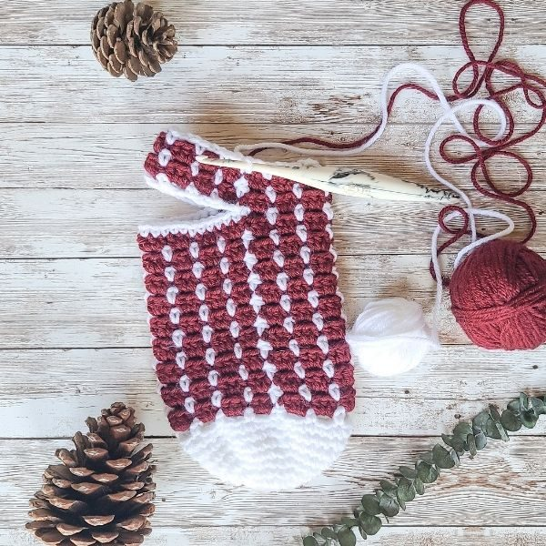 WIP after heel opening of Crochet Christmas Stocking Pattern