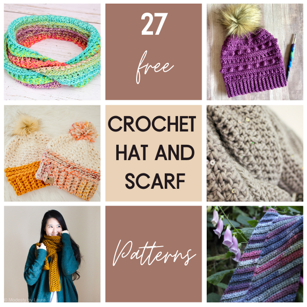 27 crochet hats and scarves patterns free, shows several of the designs.