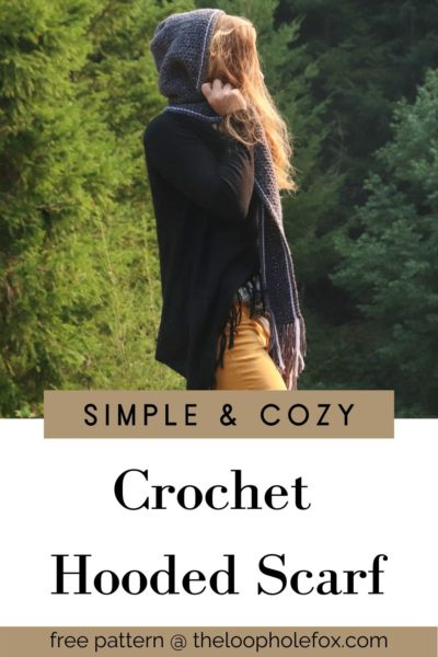 Crochet hooded scarf Pinterest pin