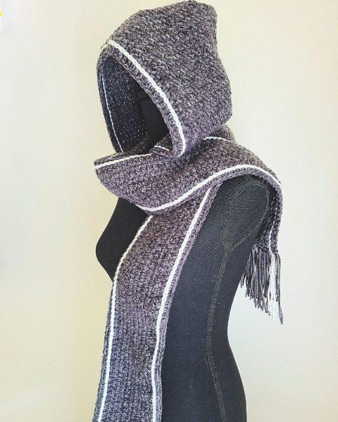 Crochet scarf on mannequin