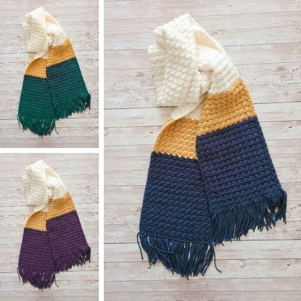 Simple Crochet Scarf shown with three different colors.