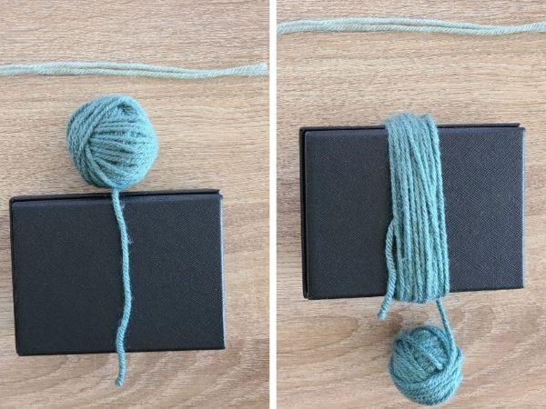 Step four for making a yarn tassel, wrap yarn around chosen item.