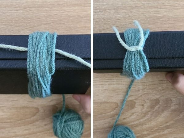 Step 5, tie a knot around the top of the strands created.