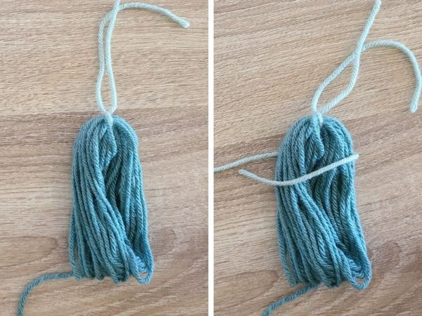 To make this bundle of yarn look more like a yarn tassel, wrap a separate strand around.