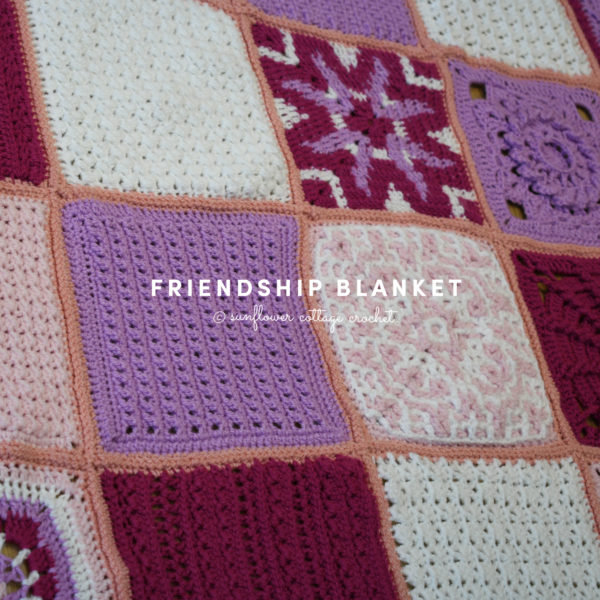 Image shows all the crochet afghan squares for The Friendship Blanket