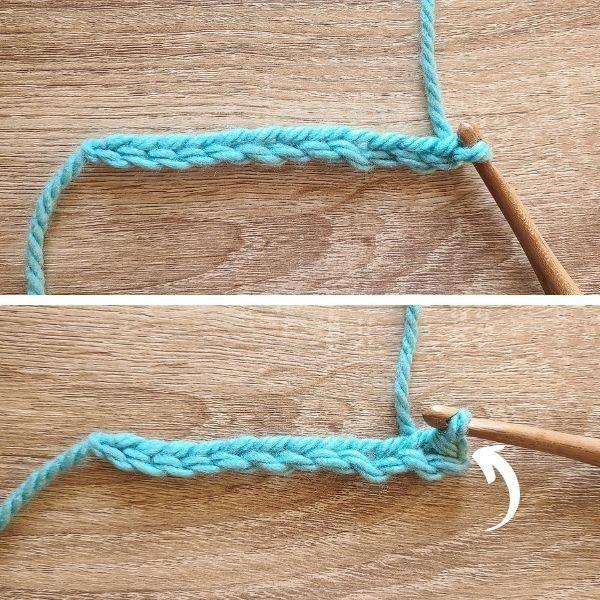 Starting row 1, image has arrow pointing to slip stitch.
