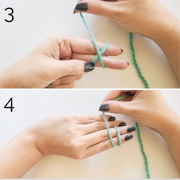 Setting up crochet magic circle.