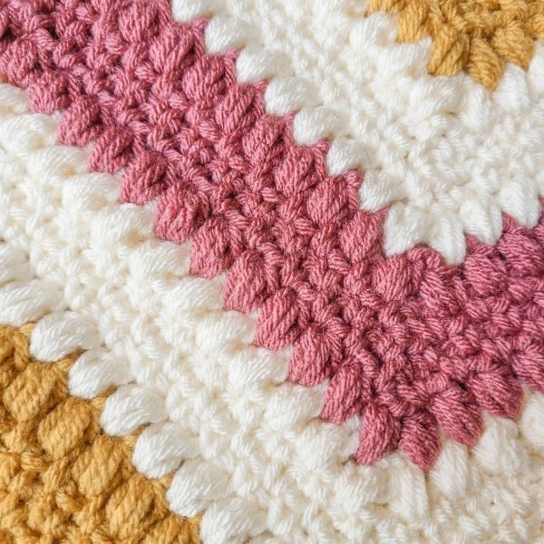 Close up of the crochet decor pattern, to show detail.