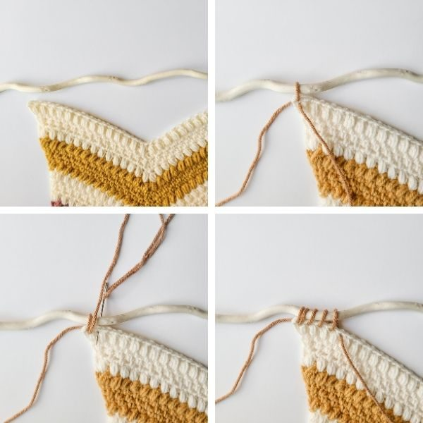 Plumeria Petals Wall Hanging WIP, shows how to hang the project on a dowel.