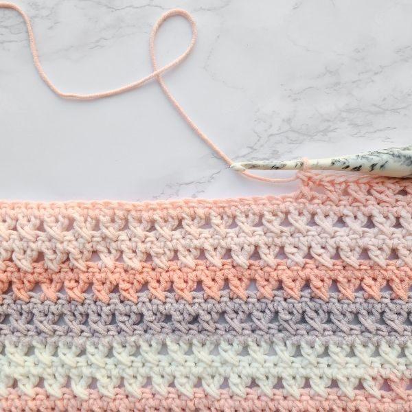 crossed double crochet triangle shawl work in progress picture