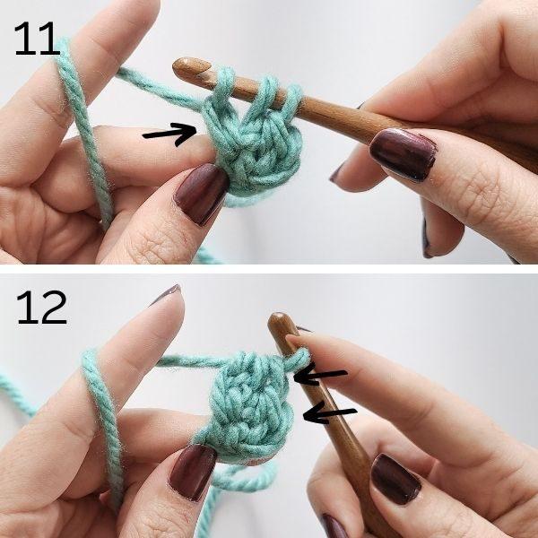 Foundation stitch steps 11 and 12.