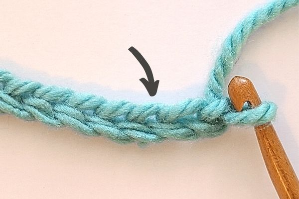 Image with black arrow pointing to 3rd chain from hook, which we need to work into for our first stitch of the crochet moss stitch.