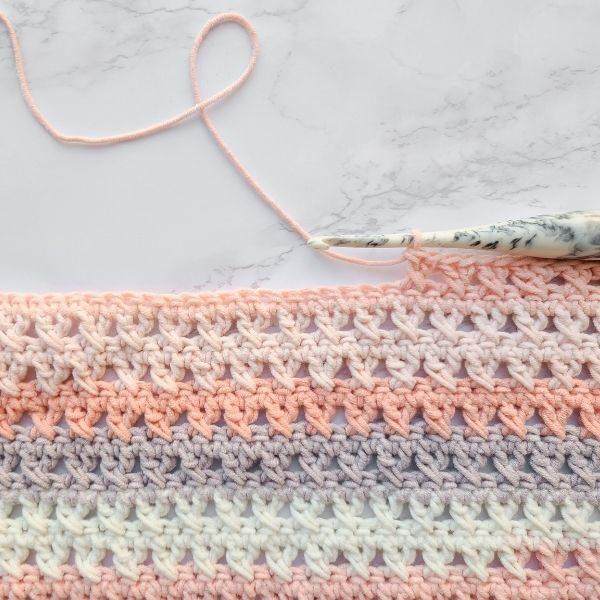 crossed double crochet stitch work in progress picture