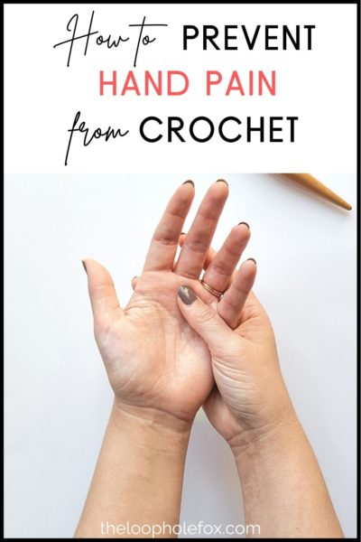 Pinterest image referencing pain while crocheting, author holding left hand in right hand.