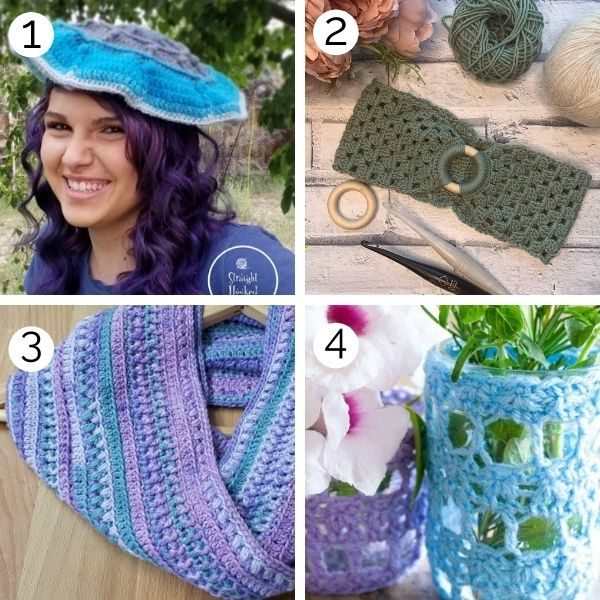 Image shows several crochet patterns that use DK yarn weight.