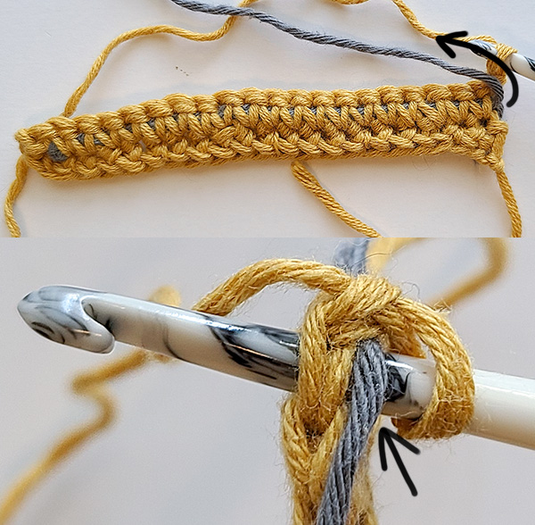 This image begins the second row using fishing line to create a non-stretchy crochet strap. It shows how to fold the fishing line over to begin carrying it on a new row.