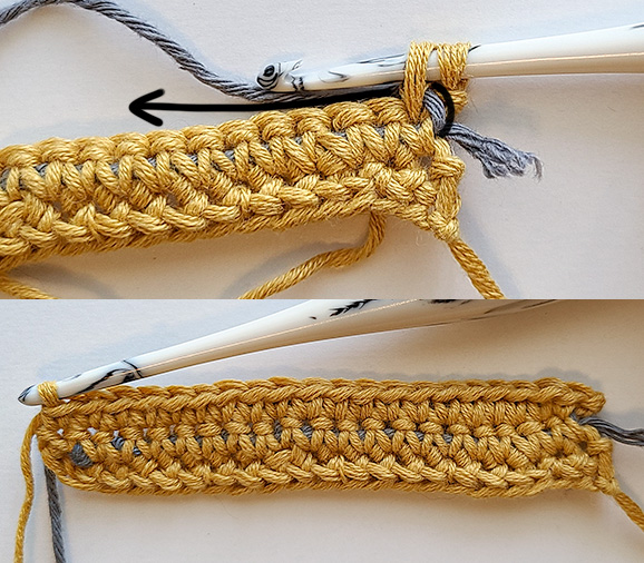This image shows the second row of the non-stretchy crochet strap fully worked. The top half of the image has an arrow showing how to carry the fishing line.