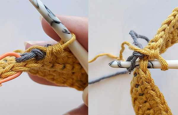 This image shows what it looks like once you've reached the slip knot, as well as showing how it looks when the hook is placed through the stitch and then the slip knot.