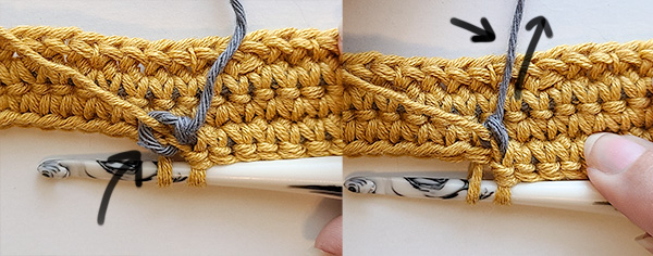 This image shows both the slip knot being a little loose and the slip knot tightened after pulling on the tail.