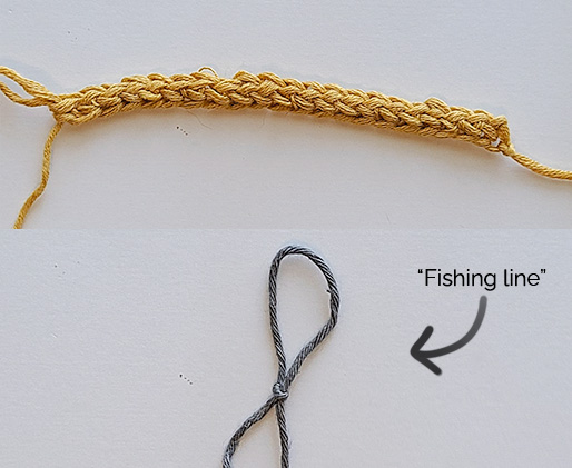 Starting out creating the non-stretchy crochet strap. Image shows a row of 20 foundation single crochet and a slip knot made with the second yarn (which is the stand in for the fishing line).