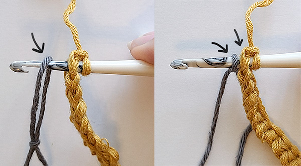 Image is showing the steps of how to secure the fishing line to the non-stretchy crochet strap.
