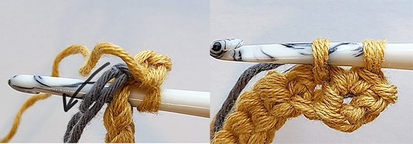 This image shows how to crochet over the ends of the fishing line to carry them.