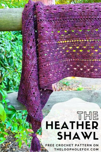 This image is a Pinterest Pin for The Heather Shawl.