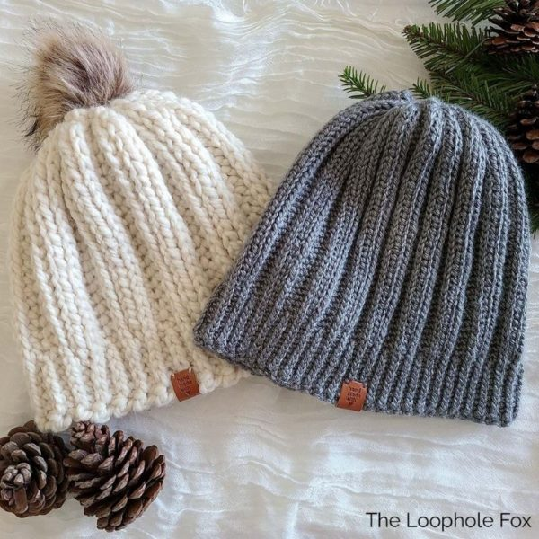 This image shows both versions of the ribbed crochet beanie pattern in medium weight and super bulky weight yarn.