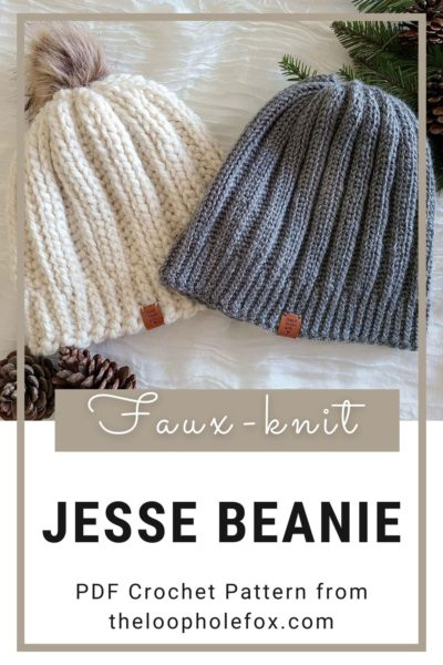 Image shows the ribbed crochet beanie pattern in a Pinterest pin, with text briefly describing what the pattern is.